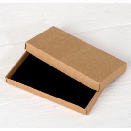 Caja Kraft interior flocado negro.11x5x1,3cm